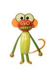 Monkey made of fresh vegetables on white background Royalty Free Stock Photos