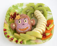 The monkey is made of rice. Creative food for good mood and appetite stock photos