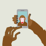 Monkey makes selfie. Animal clicks to your Smartphone with your Royalty Free Stock Images