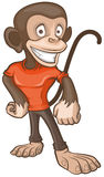 Monkey male dressed in T-shirt. Monkey stands and smiles Royalty Free Stock Image