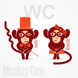 Monkey male and female sign toilet. Vector illustration of two monkeys, male gentleman and female lady want to use the toilet Royalty Free Stock Photo