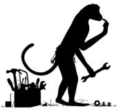 Monkey mechanic silhouette. Editable vector silhouette of a confused monkey with tools stock illustration
