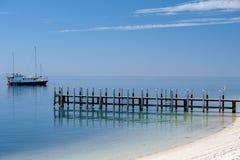 Monkey mia pier crystal water sandy beach paradise Royalty Free Stock Photography