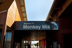 Monkey Mia Welcome Sign stock photos