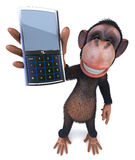 Monkey with a mobile phone Stock Images