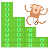 Monkey money ladder Royalty Free Stock Photography