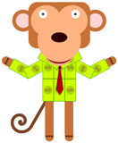 Monkey money suit Royalty Free Stock Images