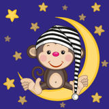 Monkey on the moon Stock Image