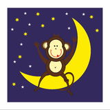 Monkey, moon and night Royalty Free Stock Images