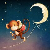Monkey and Moon. The tale of the monkey given to the drum by the moon. Computer graphics. 3D rendering