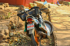 Monkey on the motorbike Royalty Free Stock Photo