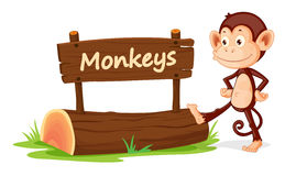Monkey and name plate Royalty Free Stock Image
