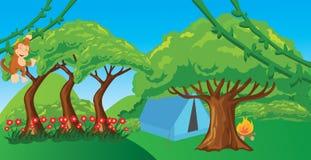 Monkey nell'albero d'attaccatura della scimmia dell'illustrazione della foresta del fumetto della giungla Fotografie Stock