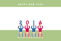 Monkey, new year card. Monkey new year card for year 2016 Royalty Free Stock Photography