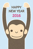 Monkey, new year card. Monkey new year card. blue background, year 2016 vector illustration