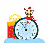 Monkey and New Year Clock. Santa, Monkey, present, New Year Clock Royalty Free Stock Images