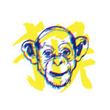 Monkey new year illustration with character means Monkey Royalty Free Stock Photos