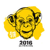 Monkey new year illustration with character means Monkey Royalty Free Stock Photo