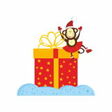 Monkey and New Year Present. Monkey, 2016 symbol, and New Year Present Stock Images