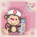 Monkey nurse. With a syringe in his hand royalty free illustration