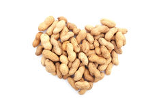 Monkey nuts in a heart shape Stock Images