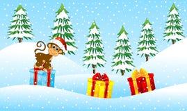 Monkey o assento em presentes na floresta do inverno ilustração royalty free