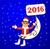 Monkey o assento em uma lua crescente e guardar cartazes com th ilustração stock