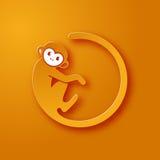 Monkey o logotipo em uma forma de um círculo no fundo amarelo, ano novo 2016, ilustração do vetor Imagem de Stock
