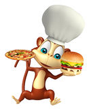 Monkey o personagem de banda desenhada com pizza e hamburguer, chapéu do cozinheiro chefe Fotos de Stock Royalty Free