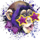 Monkey os gráficos do t-shirt do chimpanzé, ilustração do chimpanzé do macaco com fundo textured aquarela do respingo água da ilu ilustração stock