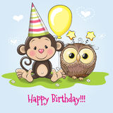 Monkey and Owl. Greeting Birthday card with monkey and owl vector illustration