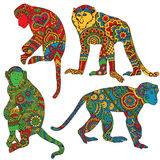 Monkey painted in the style of mehendi Stock Images