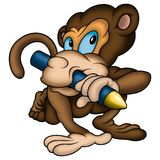 Monkey Painter And Wax-crayon Royalty Free Stock Photos
