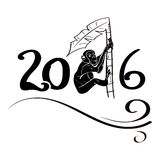 Monkey on palm 2016. Happy new year 2016 Chinese calendar for the year of monkey palm tree vector illustration