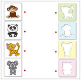 Monkey, panda, tiger and koala bear. Educational game for kids Royalty Free Stock Images