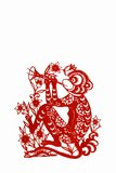 Monkey, paper cutting Chinese Zodiac. Stock Image