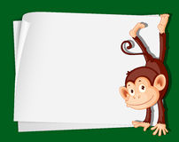 Monkey on paper. Illustration of a comical monkey on paper Royalty Free Stock Photos