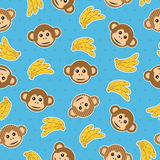 Monkey pattern seamless. Monkey and banana seamless pattern wallpaper with clipping mask Royalty Free Stock Photography