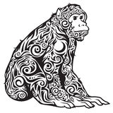 A monkey patterned black and white. Stock Photos