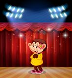 A monkey perform on stage. Illustration royalty free illustration
