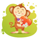 Monkey pet isolated holding heart Stock Photo