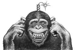 Monkey with petard. Monkey with firecrackers on the head. Pencil drawing illustration Royalty Free Stock Photos