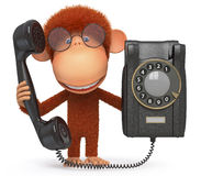 The monkey with phone Royalty Free Stock Photos