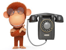 The monkey with phone Stock Photos