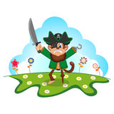 Monkey Pirate cartoon in a garden Stock Photography