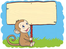 Monkey with the placard Stock Photography