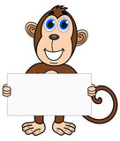 A monkey with a placard Stock Photography