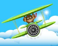 Monkey on a plane. Illustration a brown monkey on a plane Royalty Free Stock Photos