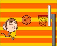 Monkey play basket Stock Photo