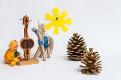 Monkey plays the kobyz. (Kazakh national musical instrument Royalty Free Stock Image